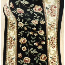 Flora Black Roll Runner Remnant Sold By The Foot 27inch x 1 ft